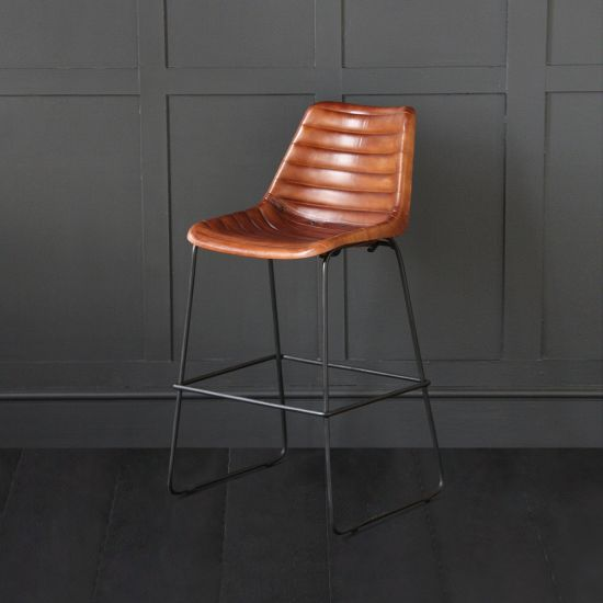 Deluxe Road House - Brown Ribbed Bar Stool 67cm