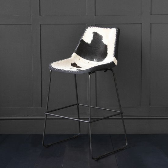 Deluxe Road House - Black & White Cow Hide  Bar Stool 67cm