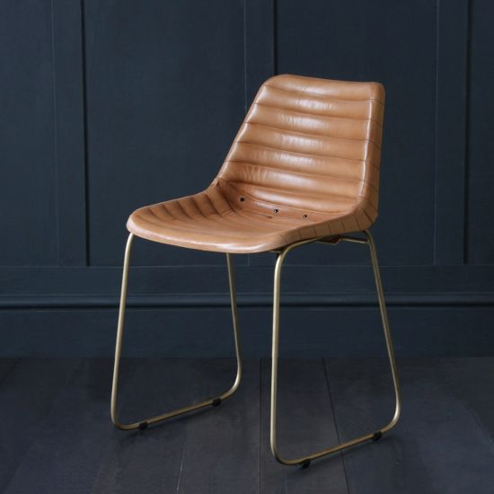 Deluxe Road House Dining Chair, Gold Base, Camel Ribbed Seat