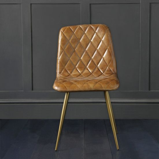 Hackney Dining Chair Brown Buffalo Leather with Cross Stitch Design
