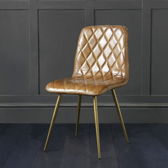 Hackney Leather Dining Chair, Cross Stitch Design, Brown Buffalo