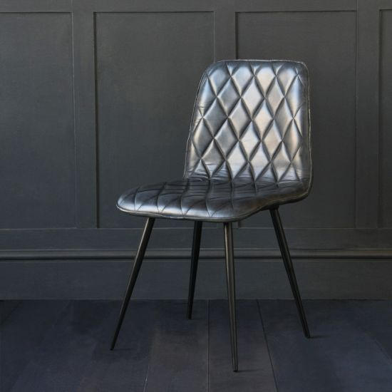 Hackney Leather Dining Chair, Cross Stitch Design, Blue Buffalo