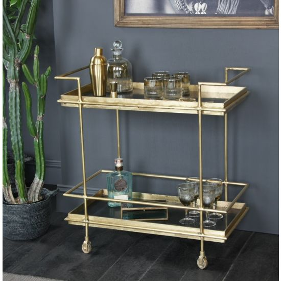 The Art Decor Inspired Lama Drinks Trolley with Black Marble Shelf and Gold Frame