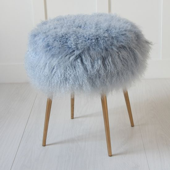 Blue 100% Genuine Mongolian Lamb Stool With Gold Pencil Leg