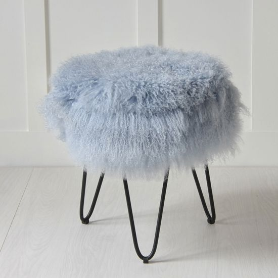 Blue Mongolian 100% Genuine Mongolian Fur Stool with Black Hairpin Leg