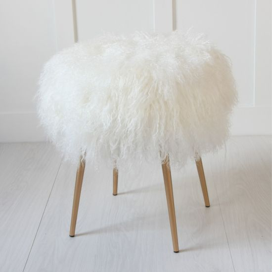 Natural 100% Genuine Mongolian Fur  Stool With Gold Pencil Leg