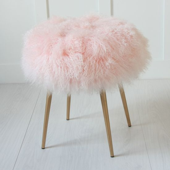 Pink 100% Genuine Mongolian Lamb Stool With Gold Pencil Leg