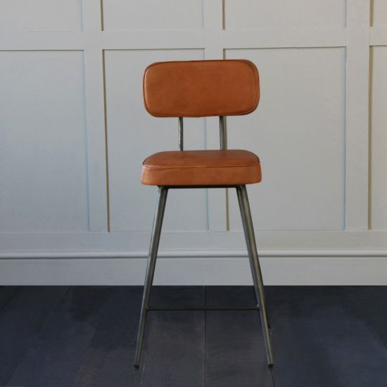 Memphis Industrial Upholstered Bar Stool Tan Seat, 67cm Seat Height