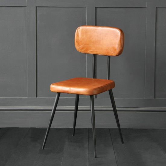 Memphis dining chair with Tan Buffalo Leather Seat and Back Rest with Black Leg