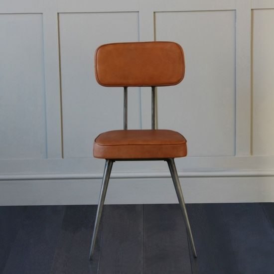 Memphis Dining Chair With Tan Upholstered Seat And Back Rest