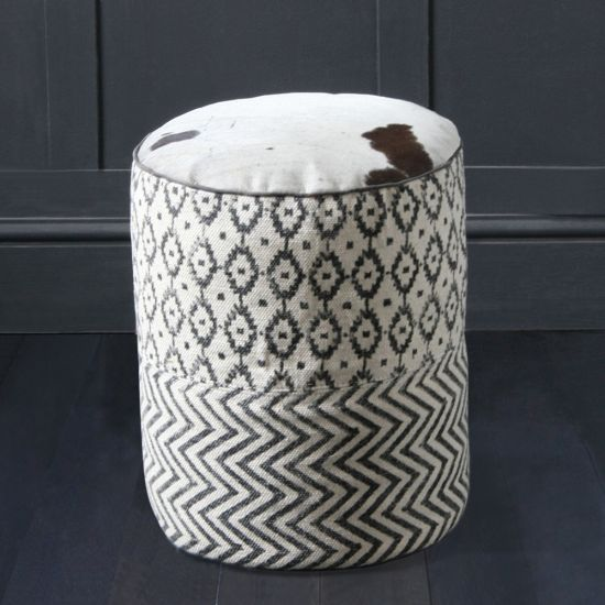 Round Pouffe In Black & White Aztec Design With Cow Hide Top