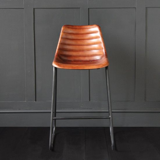 Road House  Bar Stool Brown Ribbed Seat 67cm