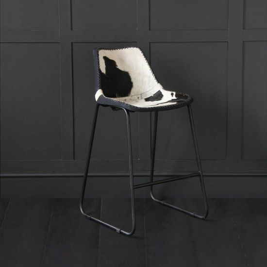 Road House  Bar Stool with Black and White Cow Hide  Seat 67cm