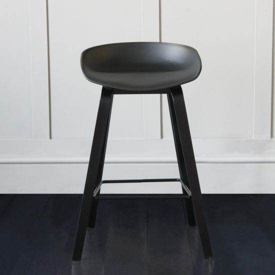 Shoreditch All Black Scandinavian / Nordic Style Bar Stool, 66cm