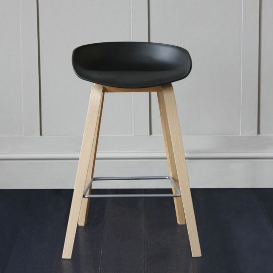 Shoreditch Scandinavian / Nordic Style Bar Stool, Black, 66cm