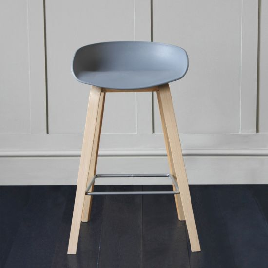 Shoreditch Scandinavian/Nordic Style Bar Stool, Grey, 66cm