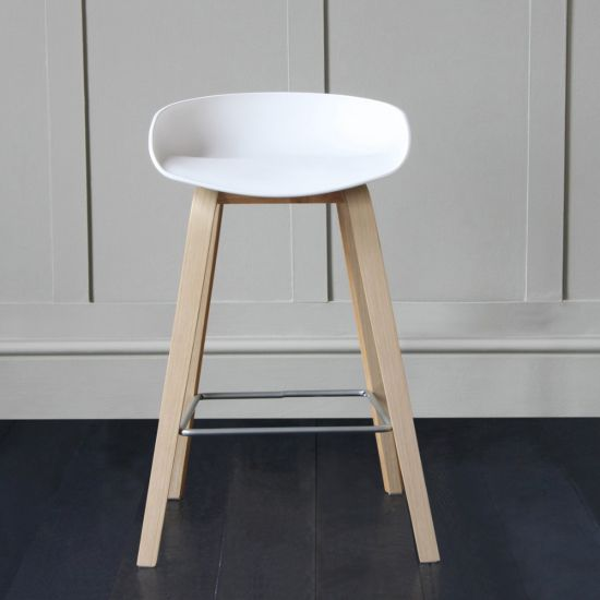 Shoreditch Scandinavian / Nordic Style Bar Stool, White, 66cm