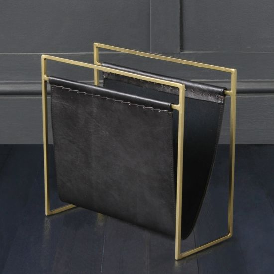 Soho Leather Magazine Rack, Black Leather Brass Coloured Frame