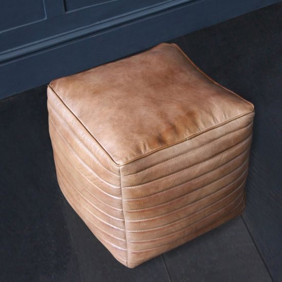 Square Brown Buffalo Leather Pouffe with Ribbed Side