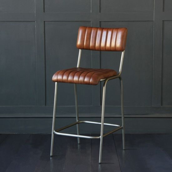 The Diner Brown Leather Ribbed Bar Stool 66cm