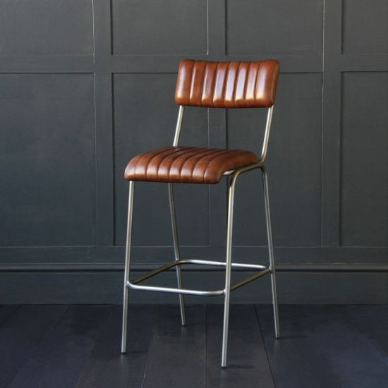 The Diner Brown Buffalo Leather Ribbed Bar Stool 75cm