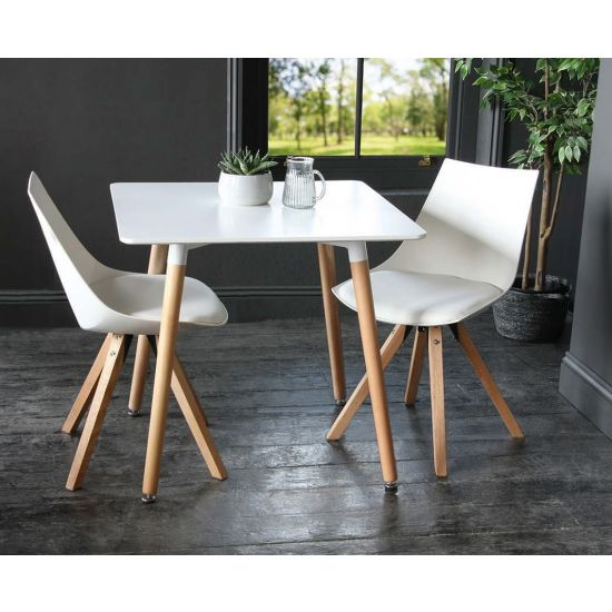 Jamie Chair + White Halo Square Dining Table includes 2 x Tulip Dining Chairs