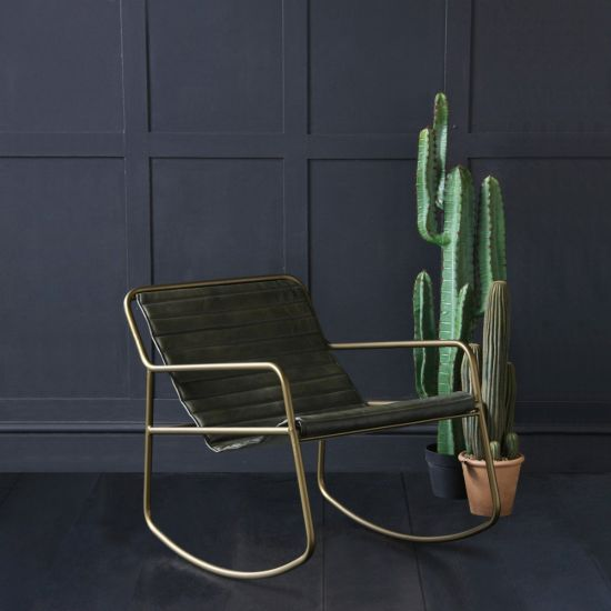 The Rocker Leather Ribbed Seat and Brass Base