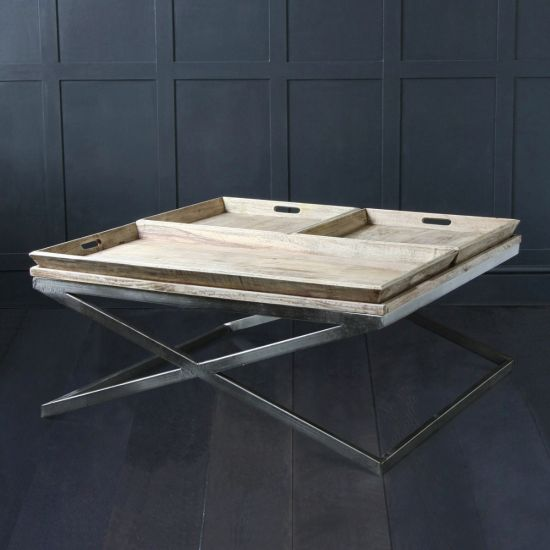 Hand Made Square Aged Tray Coffee Table with Natural Nikel Base