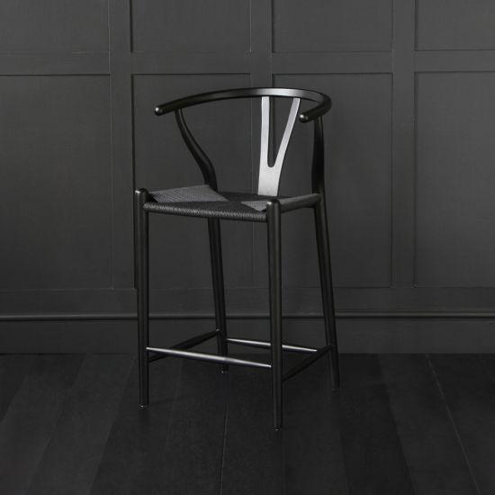 Hans Wegner Wishbone Bar Stool, Black Ash, Black Paper Coil Seat, 62cm