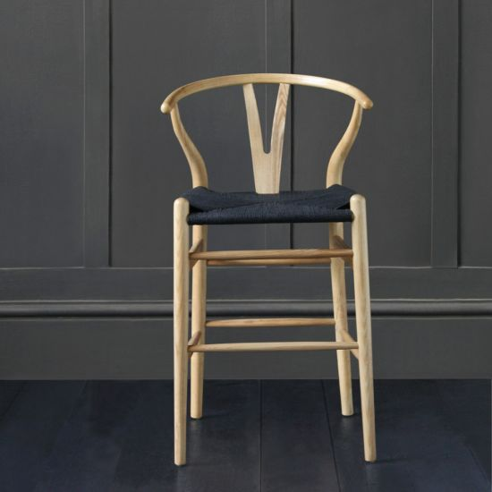 Hans Wegner Y - Wishbone Bar Stool, Natural Ash Frame with Black Weaved Seat, 66 cm Seat Height