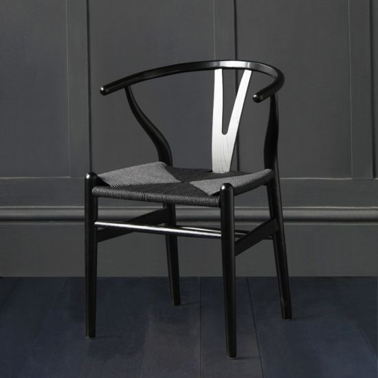 Hans Wegner Style Wishbone Chair / Black Ash with Black Paper Coil Seat