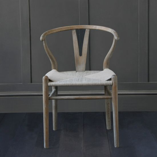 Hans Wegner Wishbone Chair, Aged Elm, Grey Coil Seat