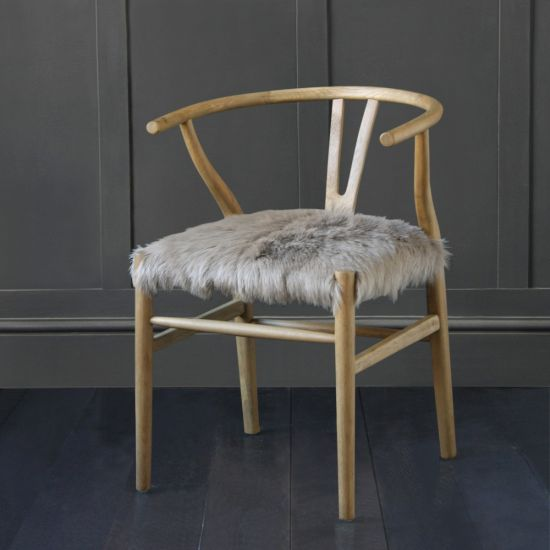 Hans Wegner Wishbone Chair, Aged Oak, Upholstered Fur Seat