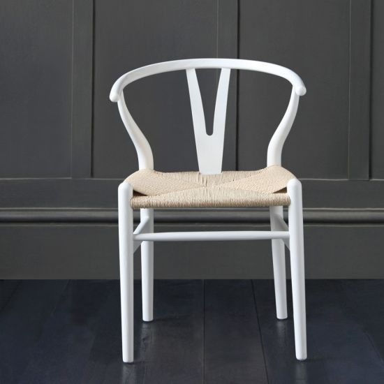 Hans Wegner Wishbone Chair, White Ash, Natural Coil Triple Weaved Seat