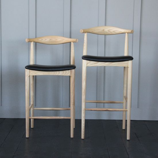Hans Wegner Style Elbow Bar Stool, 66cm