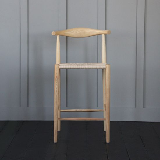 Hans Wegner Style Elbow Bar Stool Natural Paper Coil Seat