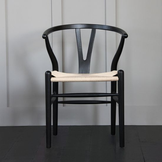 Hans Wegner Wishbone Chair, Black Ash, Natural Paper Coil Seat