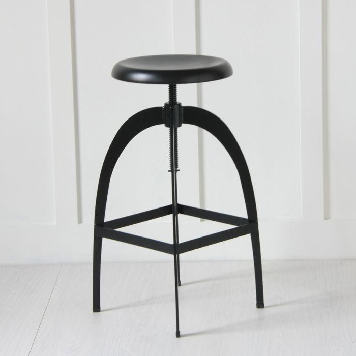 Marvelous The Rocket Kitchen Counter Stool With Adjustable Bar Matt Black Metal Machost Co Dining Chair Design Ideas Machostcouk