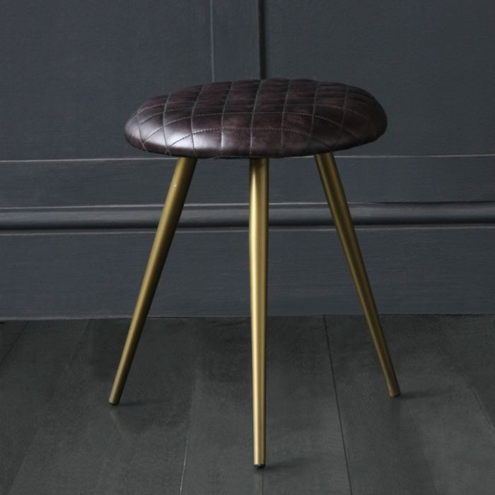 Astounding Low Stool With Pleated Cross Hatch Seat Made With Black Buffalo Leather Brass Coloured Base Short Links Chair Design For Home Short Linksinfo