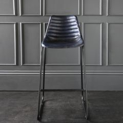 Road House Bar Stool with Blue Ribbed Leather Seat 75cm
