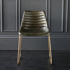 Deluxe RH Dining Chair - Olive Green Ribbed Seat - Gold Base