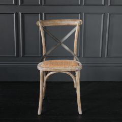 French Cross Back Dining Chair Weathered Elm