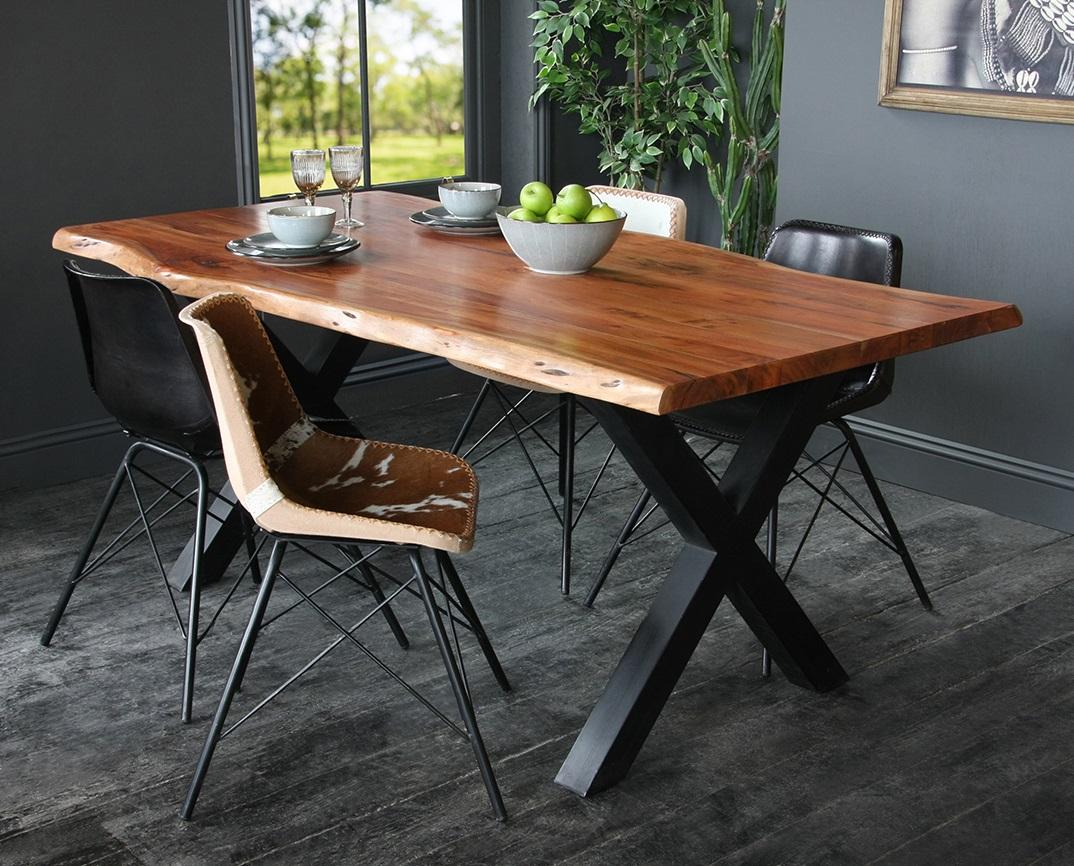 Acacia Dining Table with Natural Edge and Black Metal Cross Leg Base