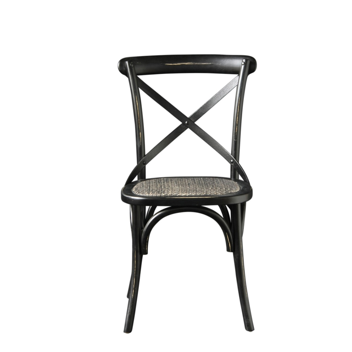 French Cross Back Bentwood Dining Chair, Café / Restaurant / Kitchen / Bistro, Metal Cross Back, Black