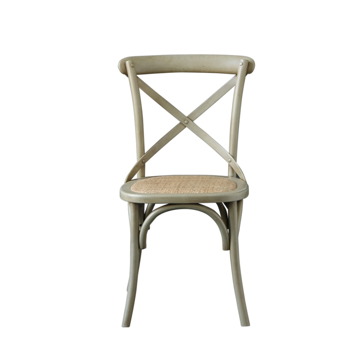 French Cross Back Bentwood Dining Chair, Café / Restaurant / Kitchen / Bistro, Metal Cross Back, Metal Grey