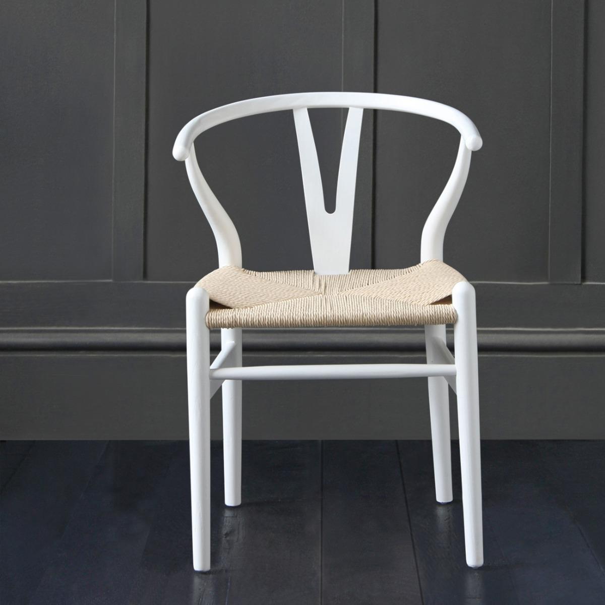 Hans Wegner Wishbone Chair, White Ash, Natural Coil Triple Weaved Seat