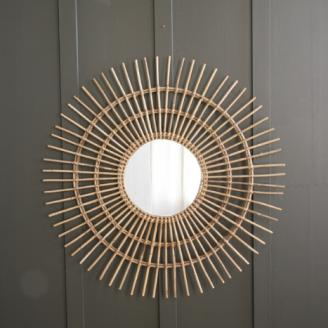 Rattan starburst round mirror by Where Saints Go
