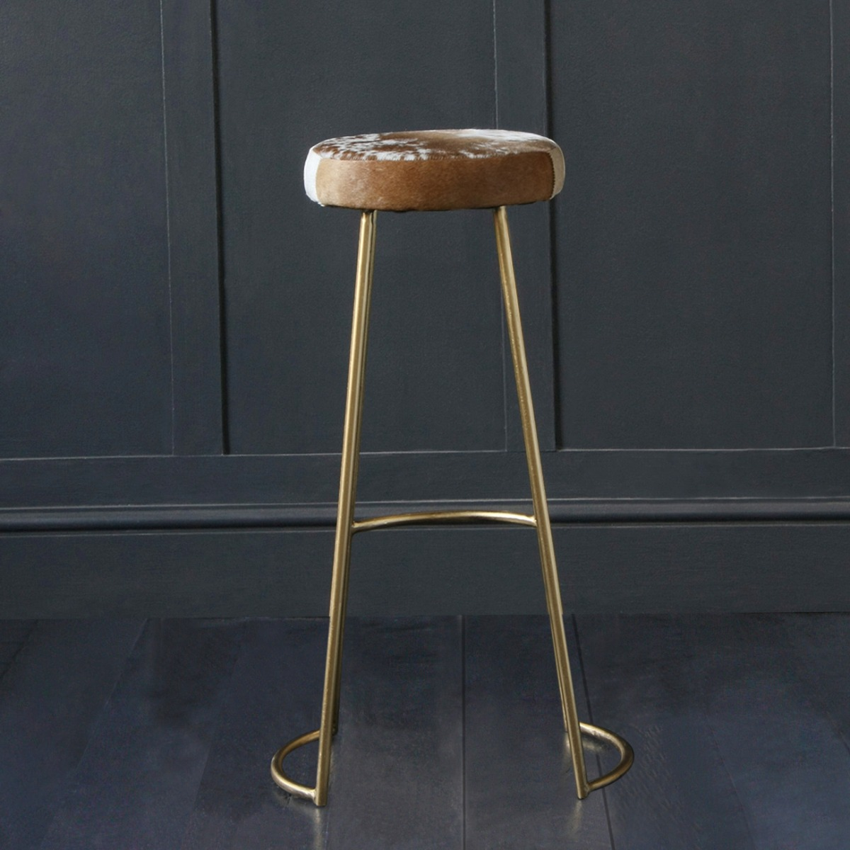 Tapas Industrial Bar Stool, Gold Base, Brown & White Cow Hide, 75cm