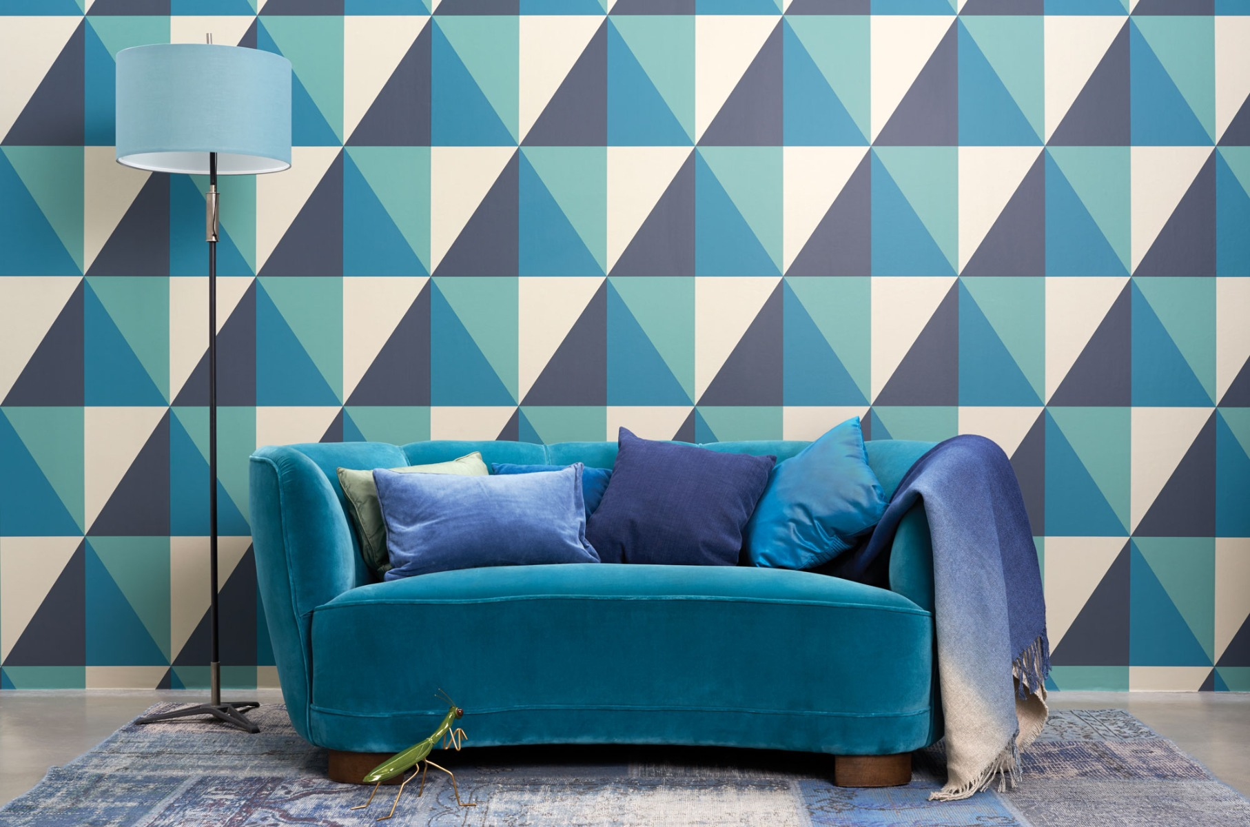 Cole & Son Geometric II Wallpaper, Apex Grand, Teal