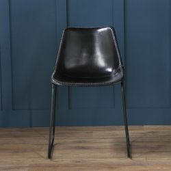 DELUXE ROAD HOUSE DINING CHAIR, BLACK BASE, BLACK SEAT